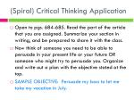 spiral critical thinking application