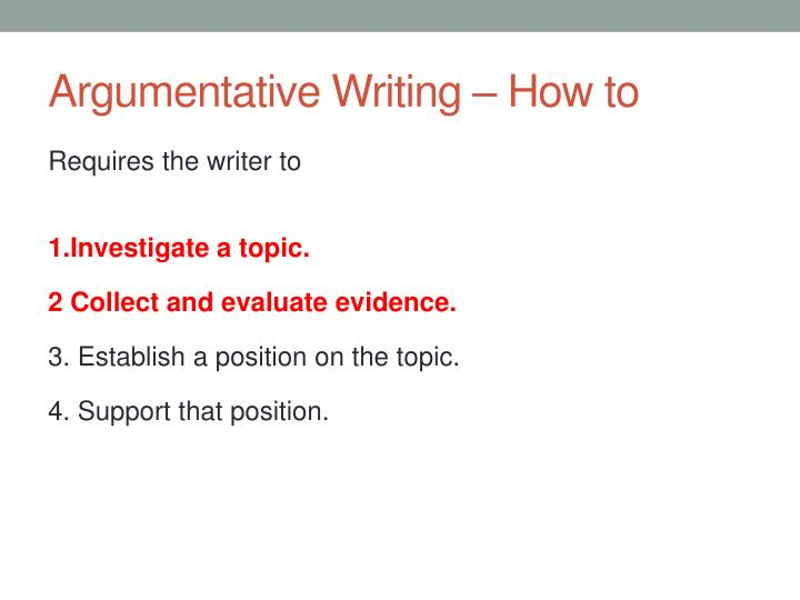 Argumentative Writing – How to