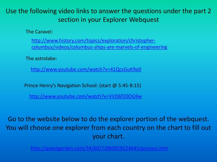 Use the following video links to answer the questions under the part 2 section in your Explorer