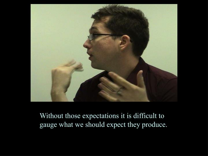 Without those expectations it is difficult to gauge what we should expect they produce.
