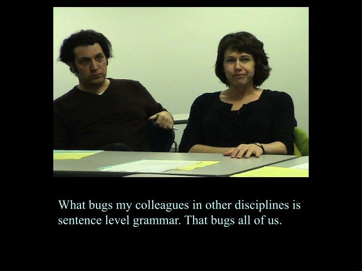 What bugs my colleagues in other disciplines is sentence level grammar. That bugs all of us.