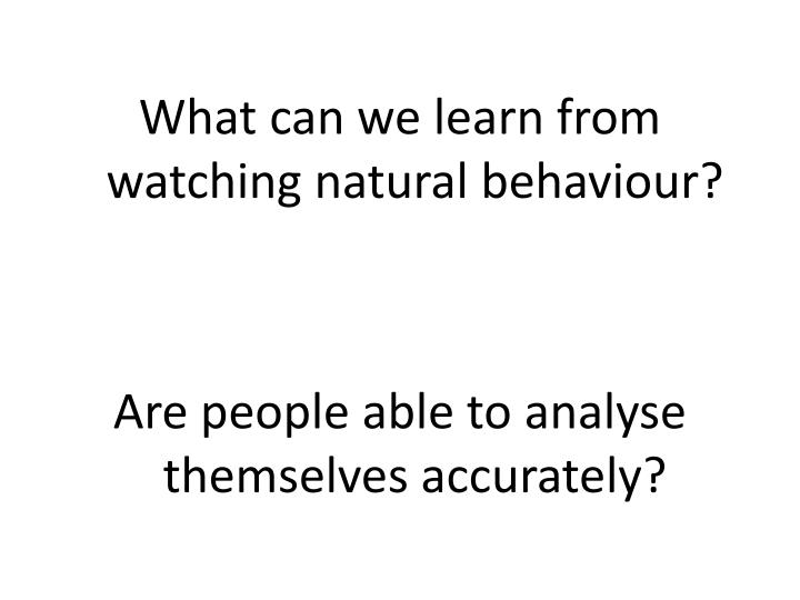 What can we learn from watching natural behaviour?