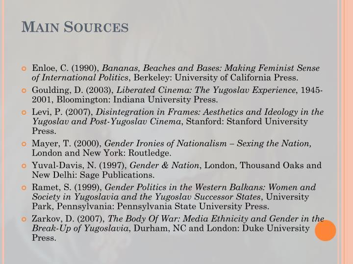 Main Sources
