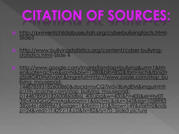 Citation of sources: