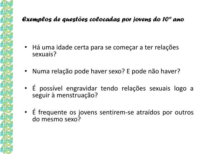 Exemplos de questões colocadas por jovens do 10º ano