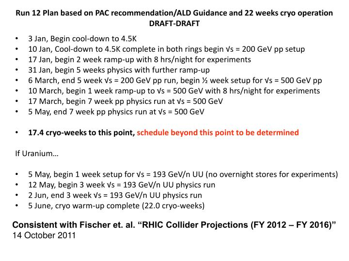 Run 12 Plan based on PAC recommendation/ALD Guidance and 22 weeks cryo operation