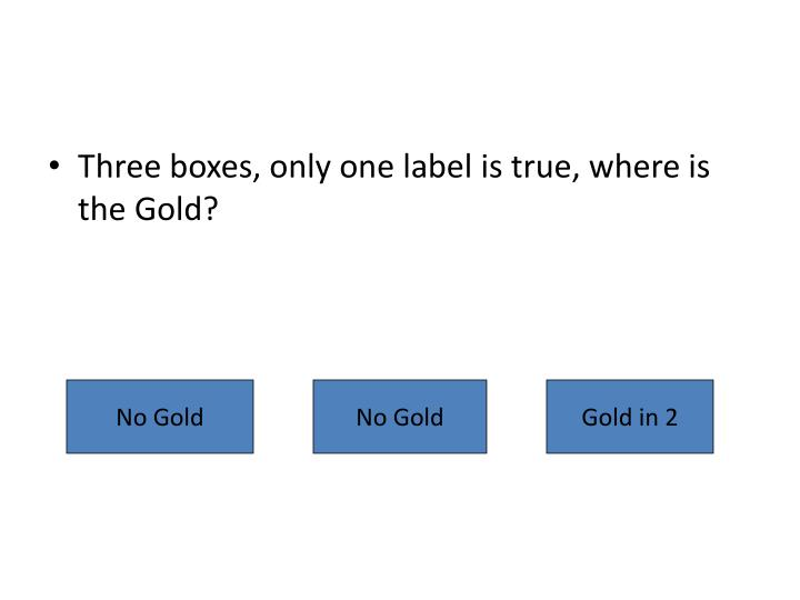 Three boxes, only one label is true, where is the Gold?