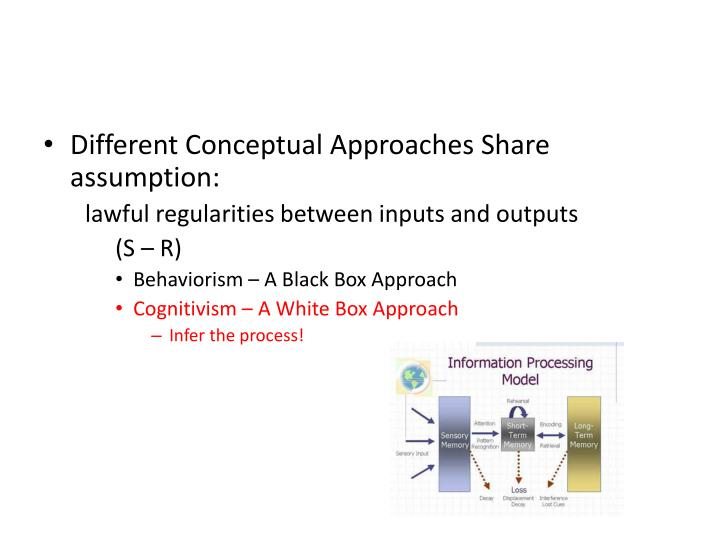 Different Conceptual Approaches Share assumption: