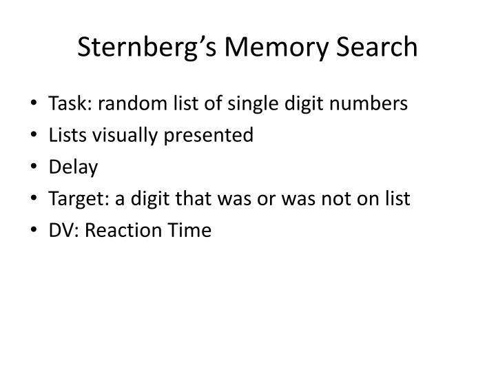 Sternberg's Memory Search