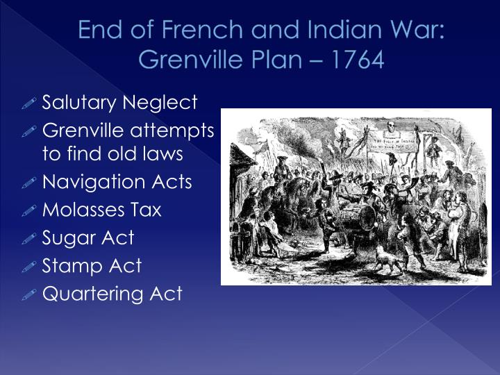 End of French and Indian War: Grenville Plan – 1764