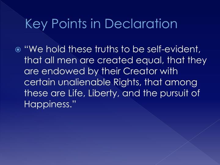 Key Points in Declaration