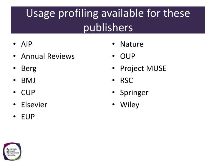 Usage profiling available for these publishers