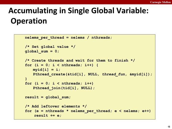 Accumulating in Single Global Variable: Operation