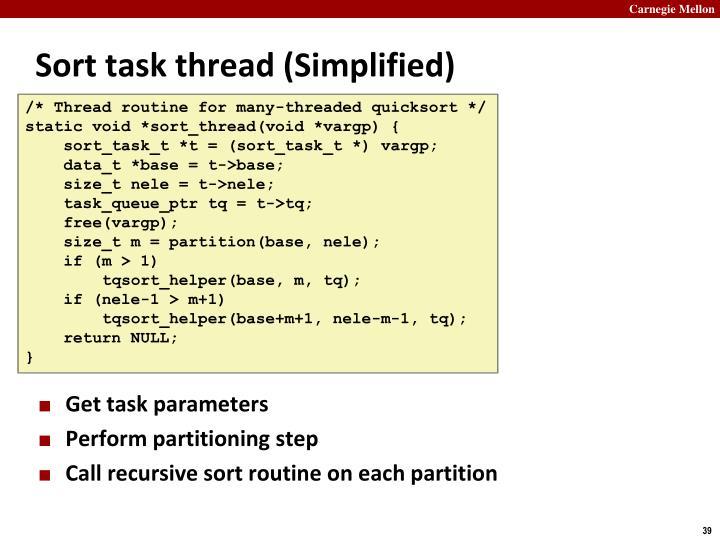 Sort task thread (Simplified)