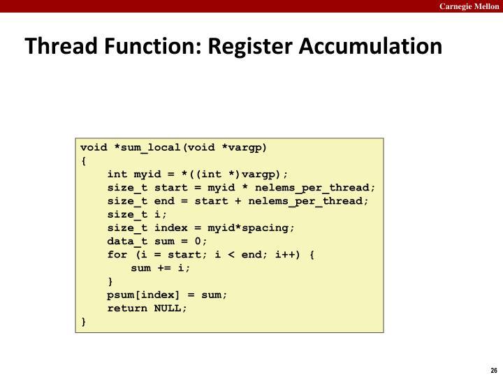 Thread Function: Register Accumulation