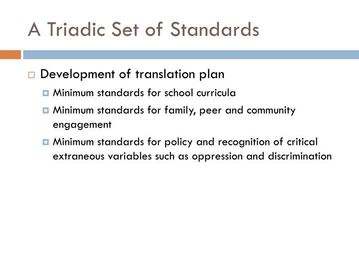 A Triadic Set of Standards