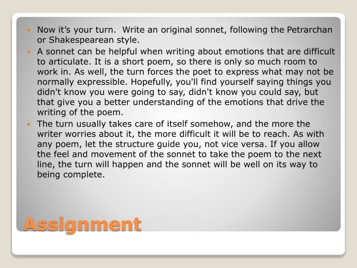 Now it's your turn.  Write an original sonnet,