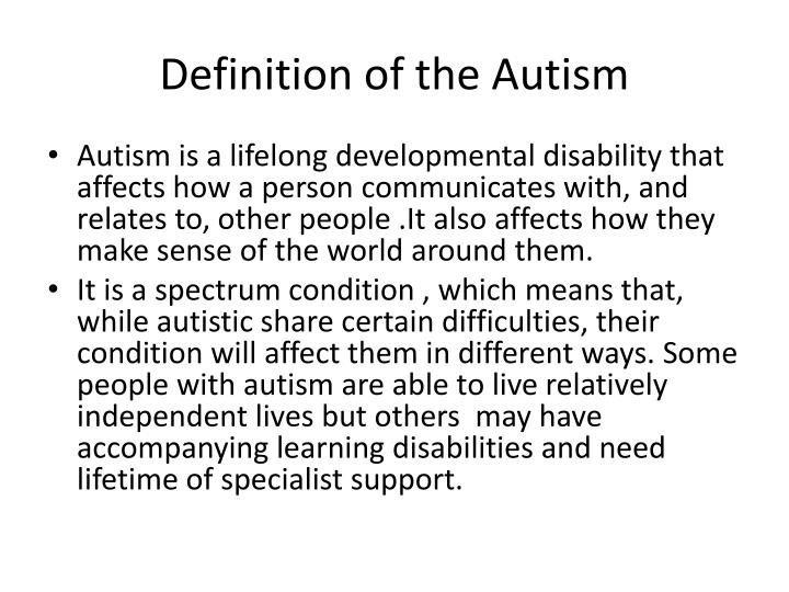 Definition of the autism