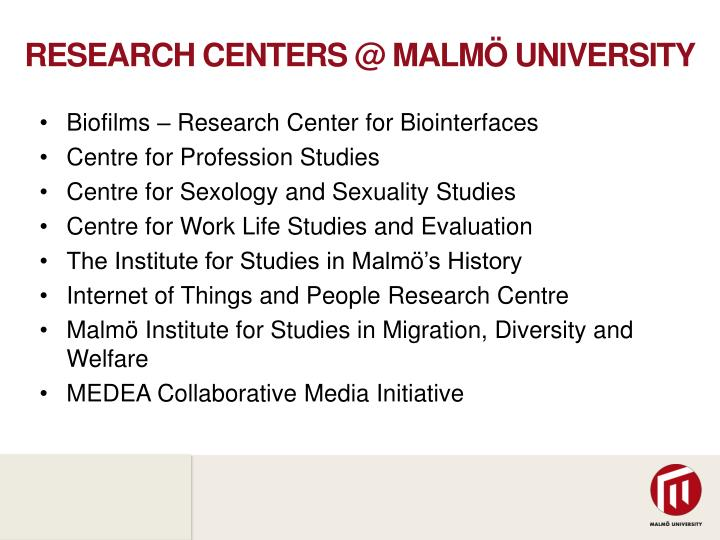 Research centers @ Malmö University