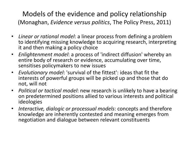 Models of the evidence and policy relationship
