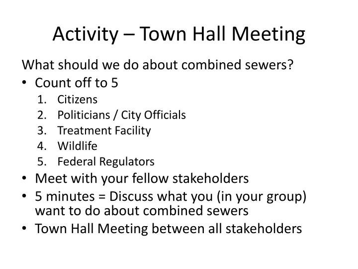 Activity – Town Hall Meeting