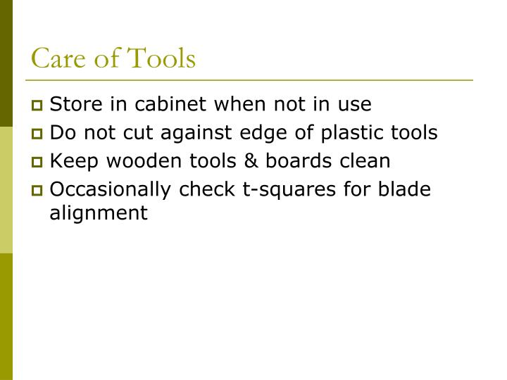 Care of Tools