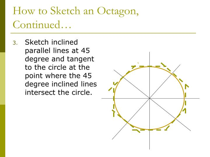 Sketch inclined parallel lines at 45 degree and tangent to the circle at the point where the 45 degree inclined lines intersect the circle.