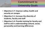 commitment to university goals