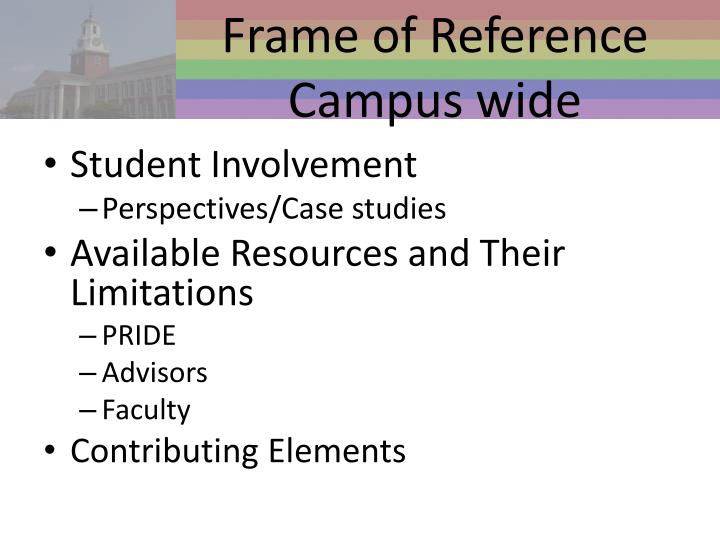 Frame of Reference Campus wide