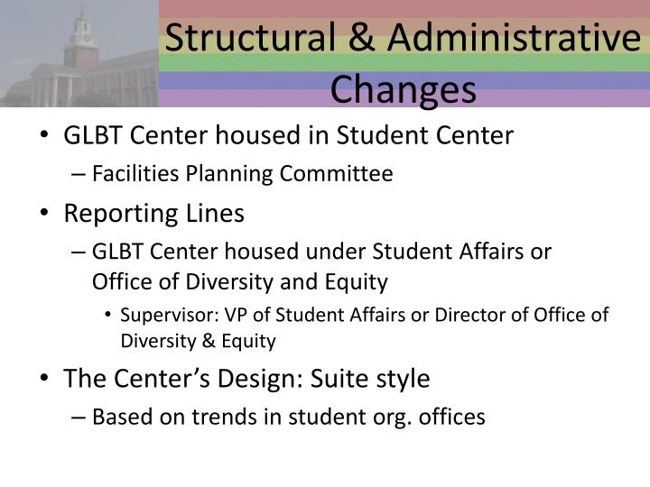 Structural & Administrative Changes
