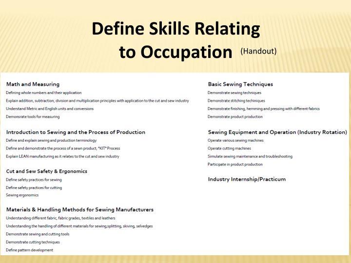 Define Skills Relating