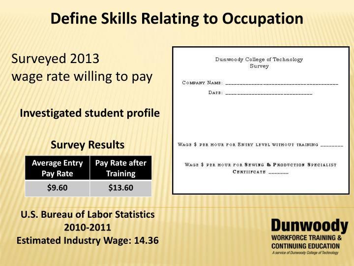 Define Skills Relating to Occupation