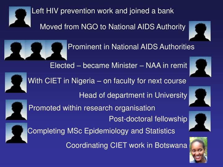 Left HIV prevention work and joined a bank