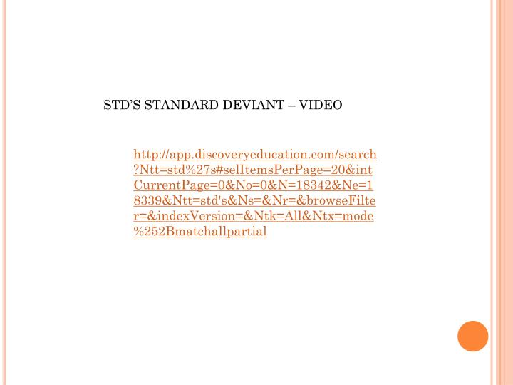 STD'S STANDARD DEVIANT – VIDEO
