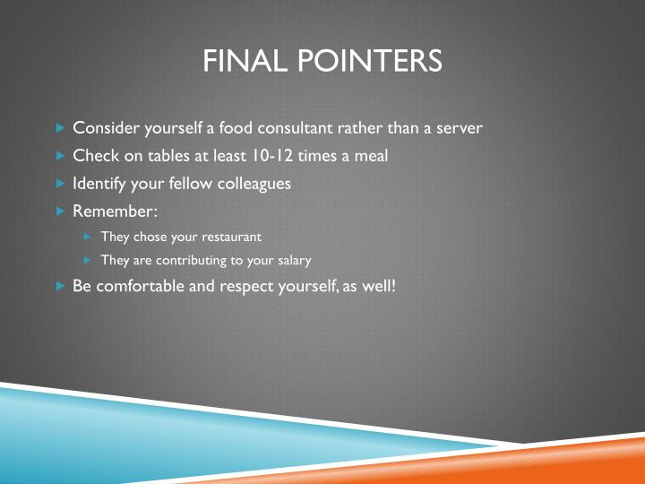 Final Pointers