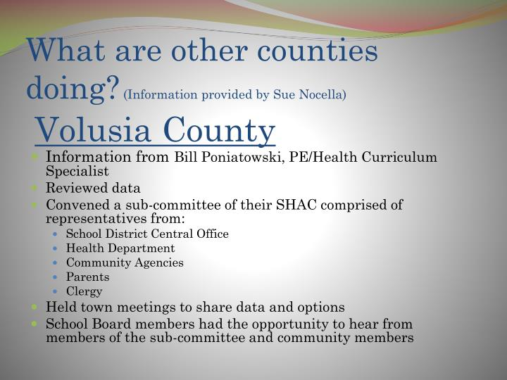 What are other counties doing?