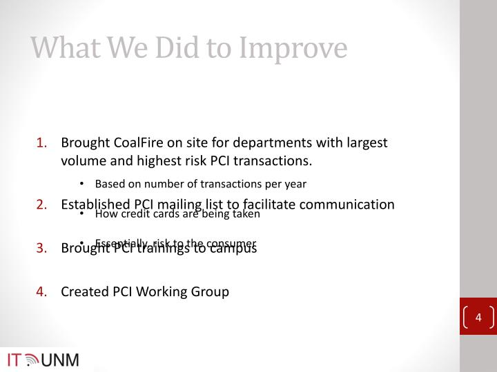 What We Did to Improve