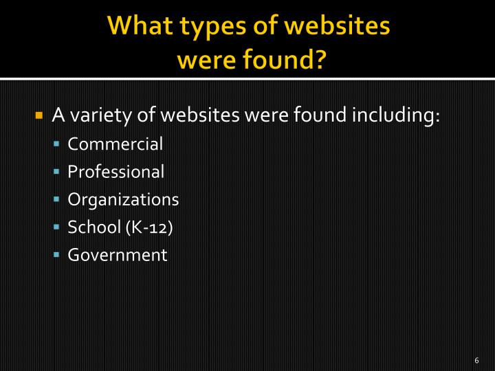 What types of websites