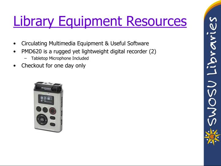 Library Equipment Resources