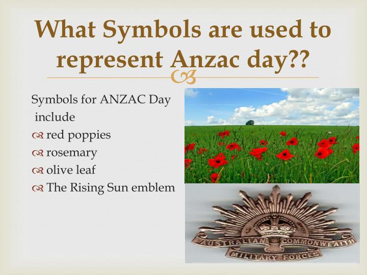 What Symbols are used to represent Anzac day??