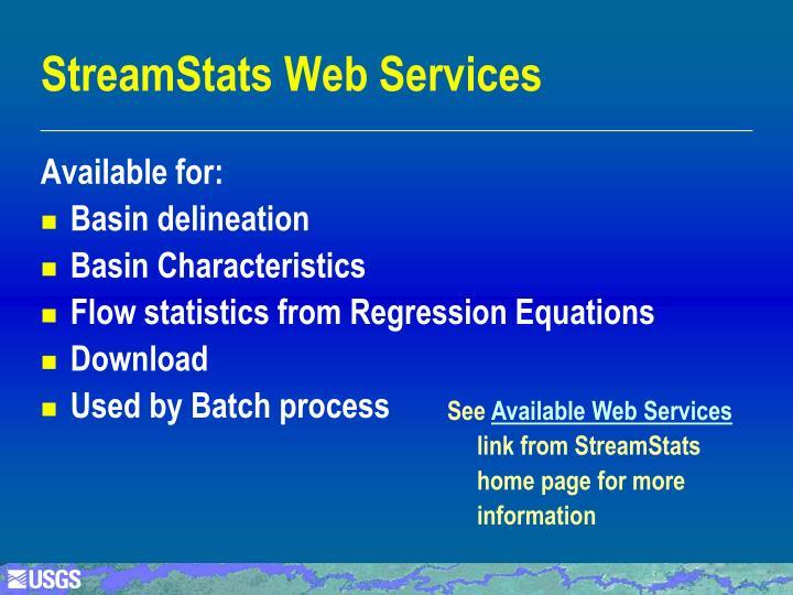 StreamStats Web Services