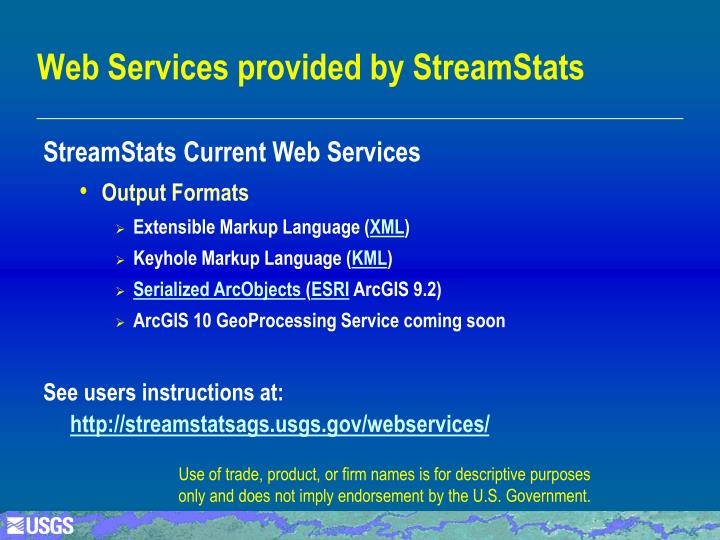 Web Services provided by StreamStats