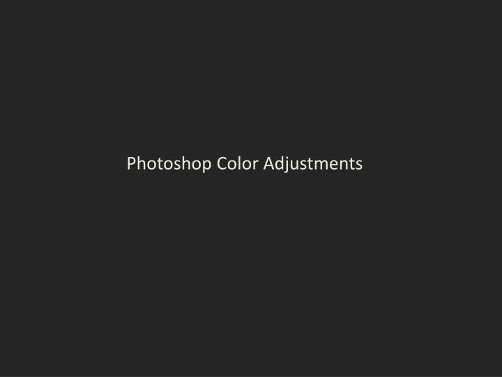 Photoshop Color Adjustments
