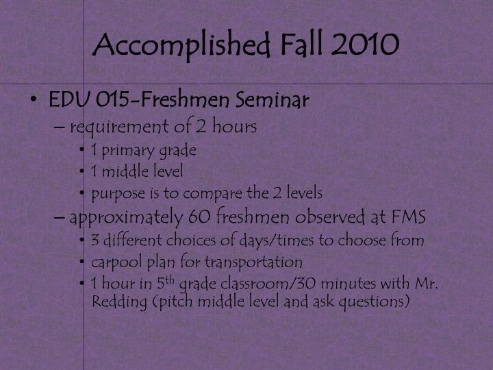Accomplished Fall 2010