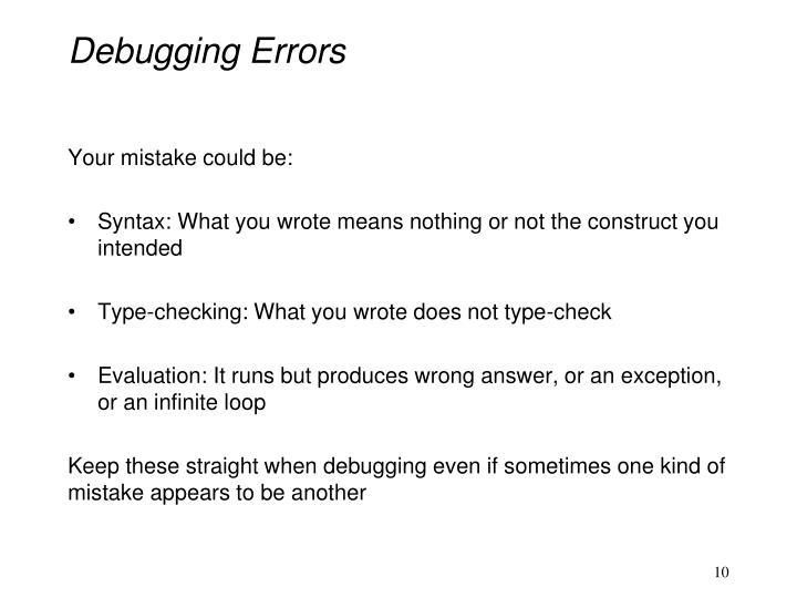 Debugging Errors
