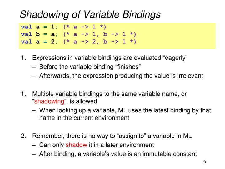 Shadowing of Variable Bindings