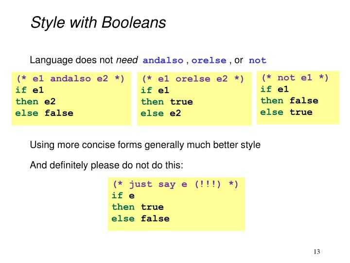 Style with Booleans