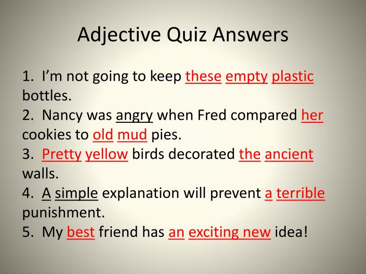 Adjective Quiz Answers