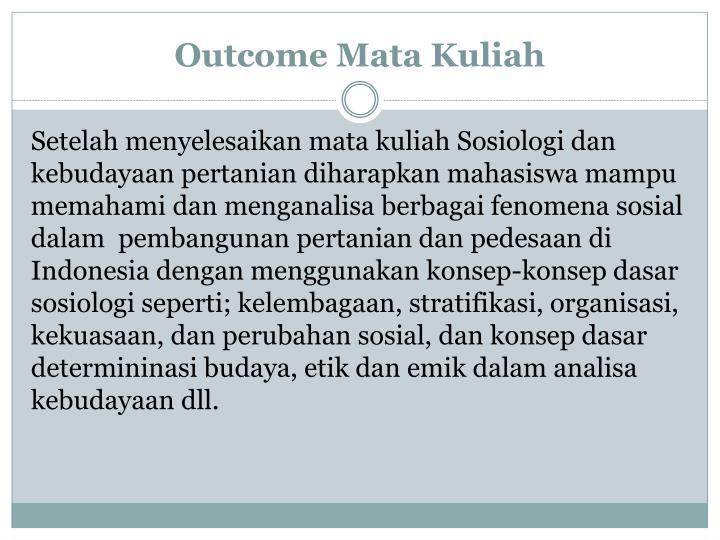 Outcome Mata Kuliah