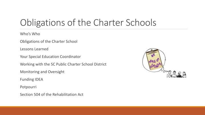 Obligations of the charter schools